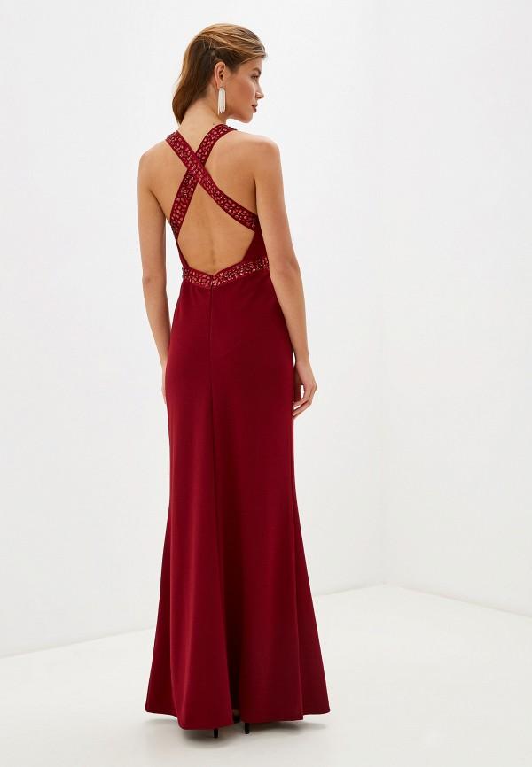 Фото 3 - женское вечернее платье Goddiva бордового цвета