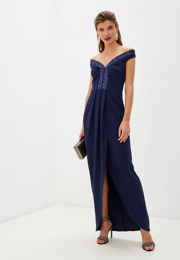 Фото - женское вечернее платье Goddiva синего цвета