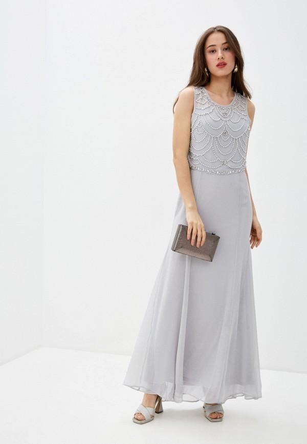 женское вечерние платье goddiva, серое