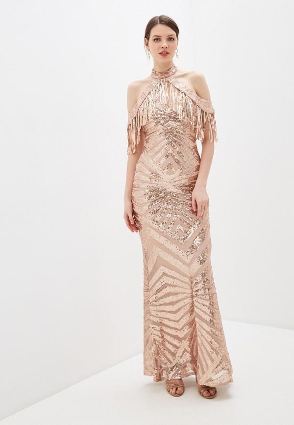 женское вечерние платье goddiva, бежевое