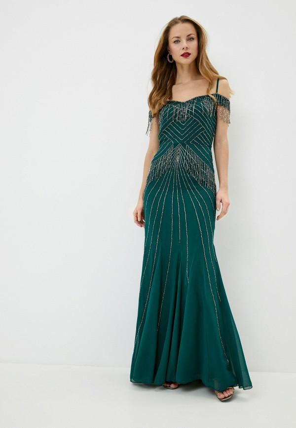 женское вечерние платье goddiva, зеленое