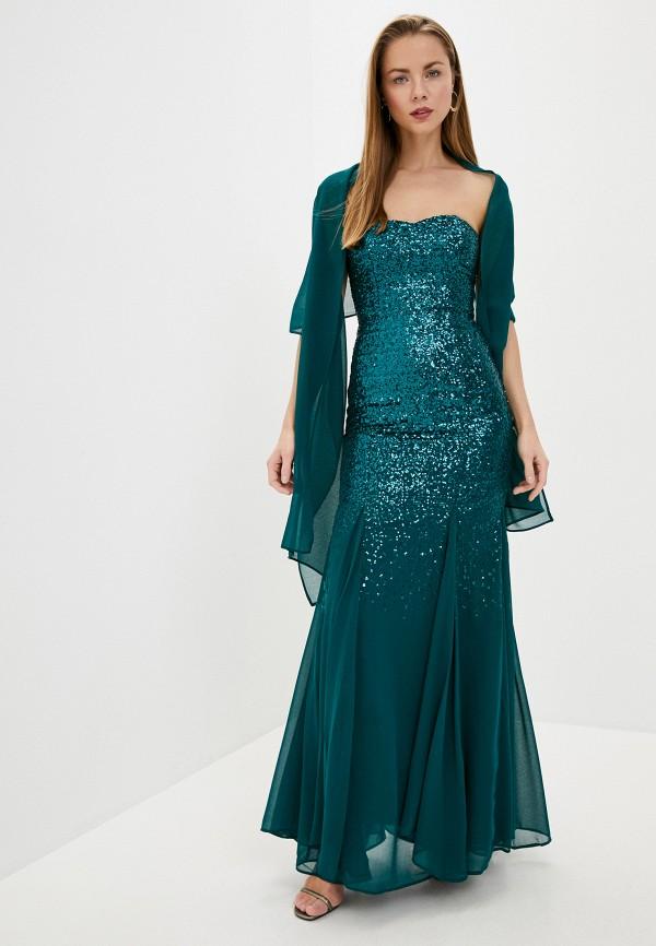 женское вечерние платье goddiva, бирюзовое