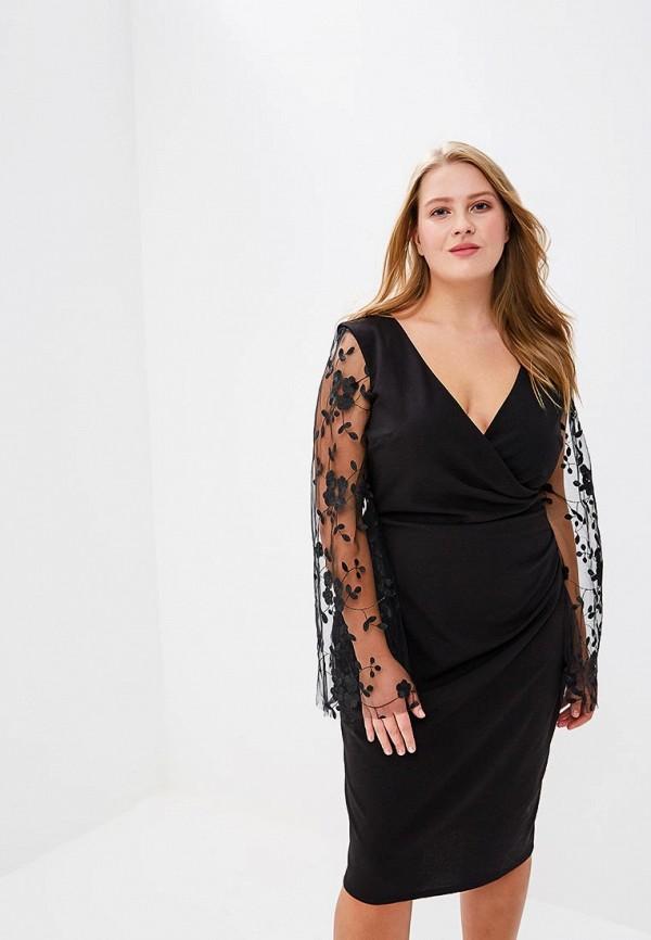 Платье Goddiva Size Plus Goddiva Size Plus GO015EWAVDG3 plus size lace scalloped edge blouse