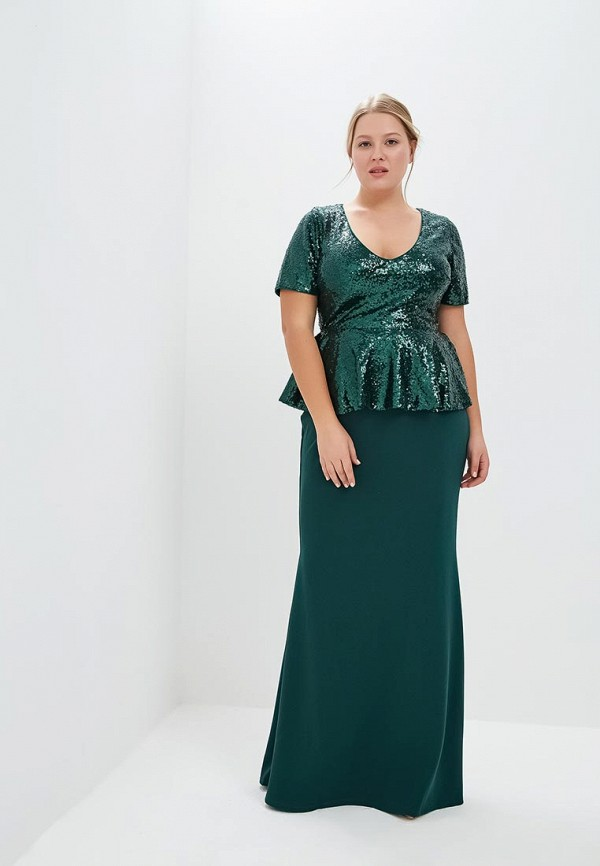 Платье Goddiva Size Plus Goddiva Size Plus GO015EWCSIL9 plus size long sleeve formal party dress with lace
