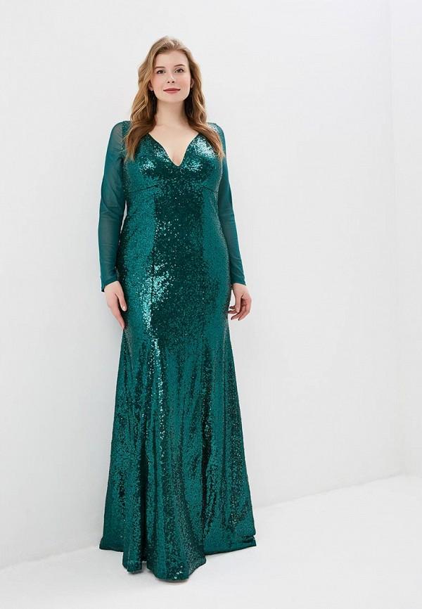 женское вечерние платье goddiva size plus, зеленое