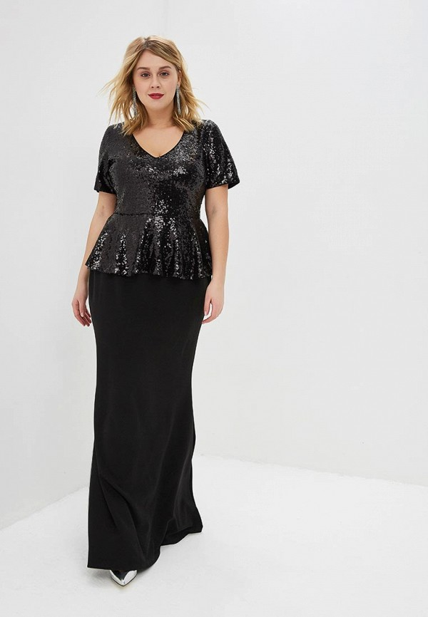Платье Goddiva Size Plus Goddiva Size Plus GO015EWEQJT4 plus size sequined trim handkerchief top