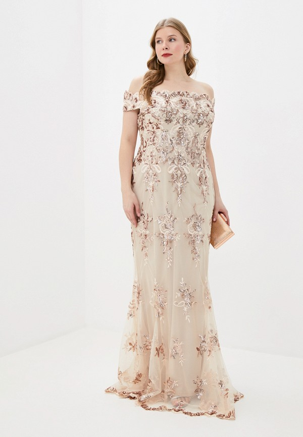 женское вечерние платье goddiva size plus, бежевое