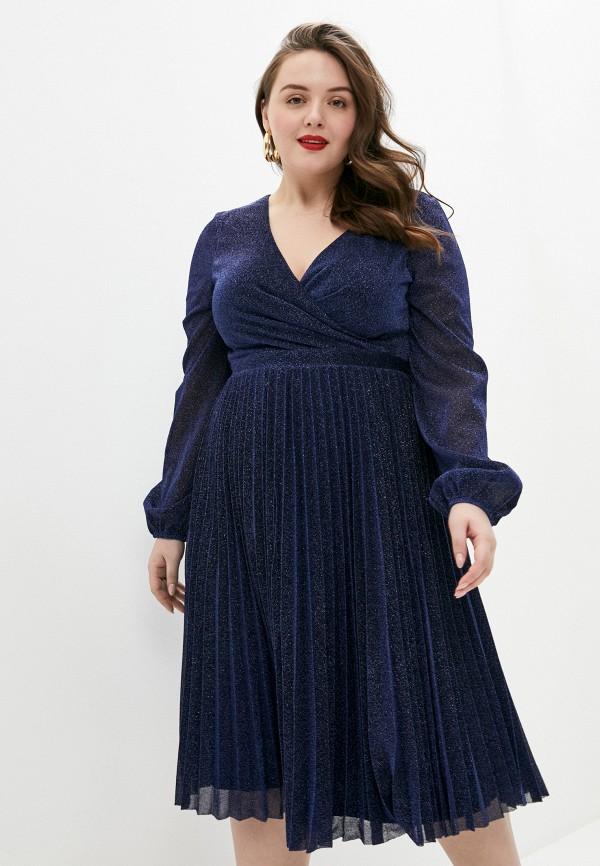 женское повседневные платье goddiva size plus, синее