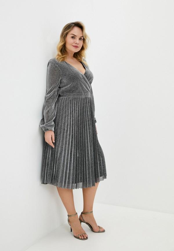 женское вечерние платье goddiva size plus, серебряное
