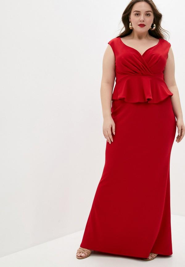 женское вечерние платье goddiva size plus, красное