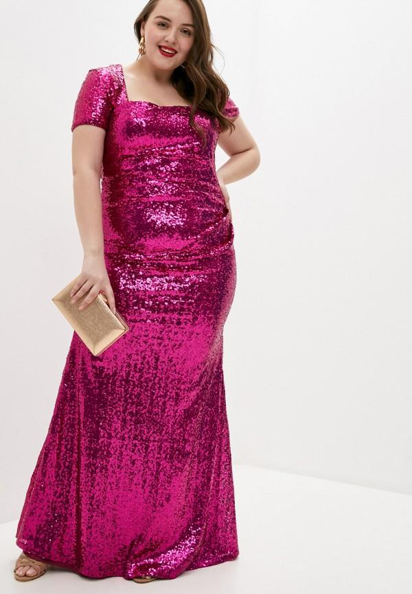 женское вечерние платье goddiva size plus, розовое