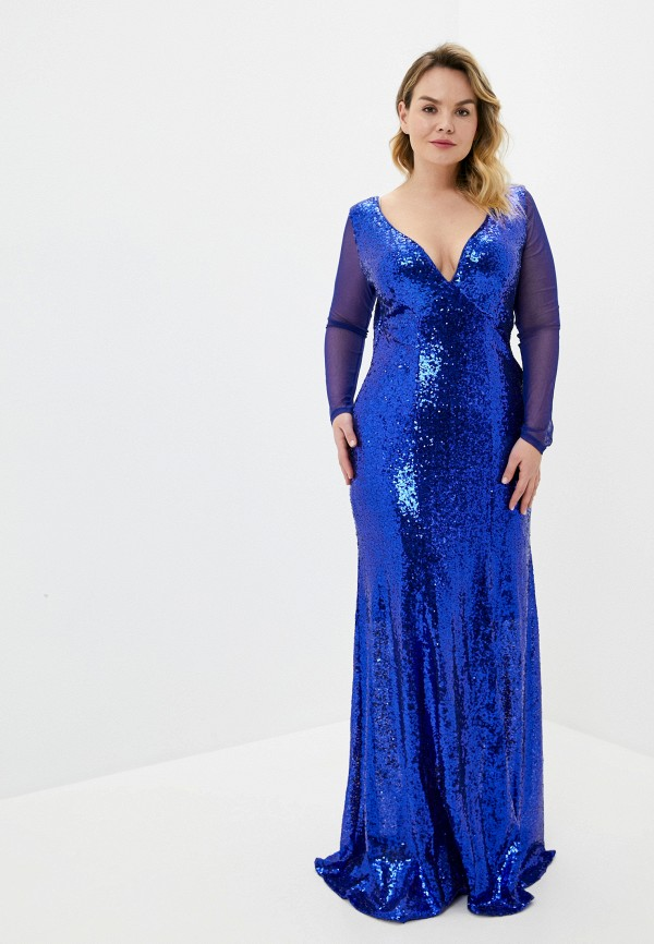 женское вечерние платье goddiva size plus, синее