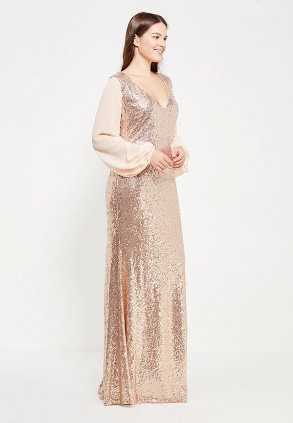 Платье Goddiva Size Plus Goddiva Size Plus GO015EWXRA71 plus size leaf sheer v neck blouse