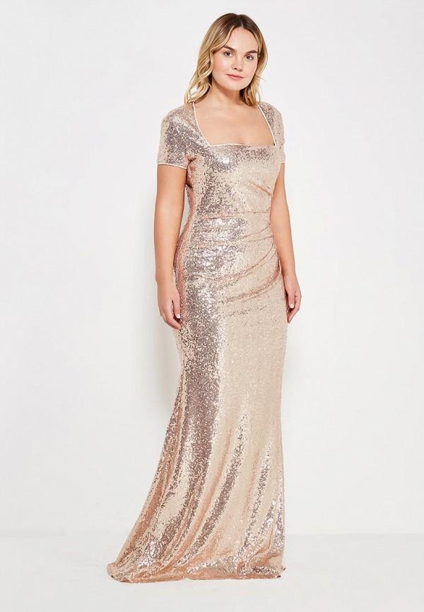 женское вечерние платье goddiva size plus, золотое