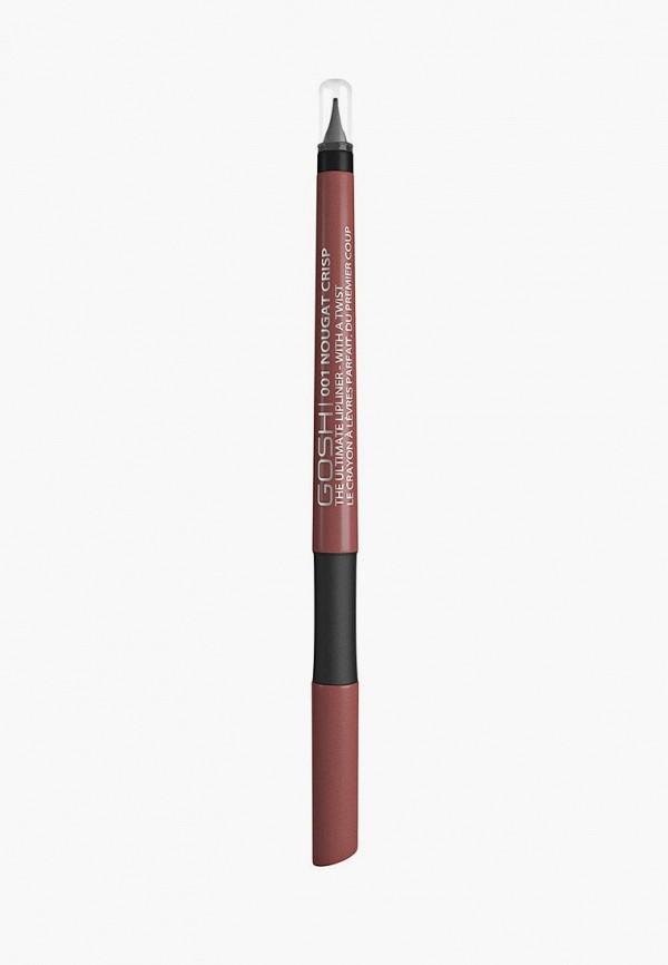 карандаш для губ gosh, коричневый