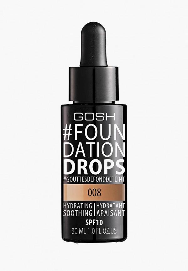 Купить Тональное средство Gosh, Foundation Drops увлажняющий, 008 Honey Медовый, GO025LWCJZA1, прозрачный, Осень-зима 2018/2019