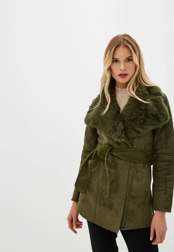 женская дубленка grand style, зеленая