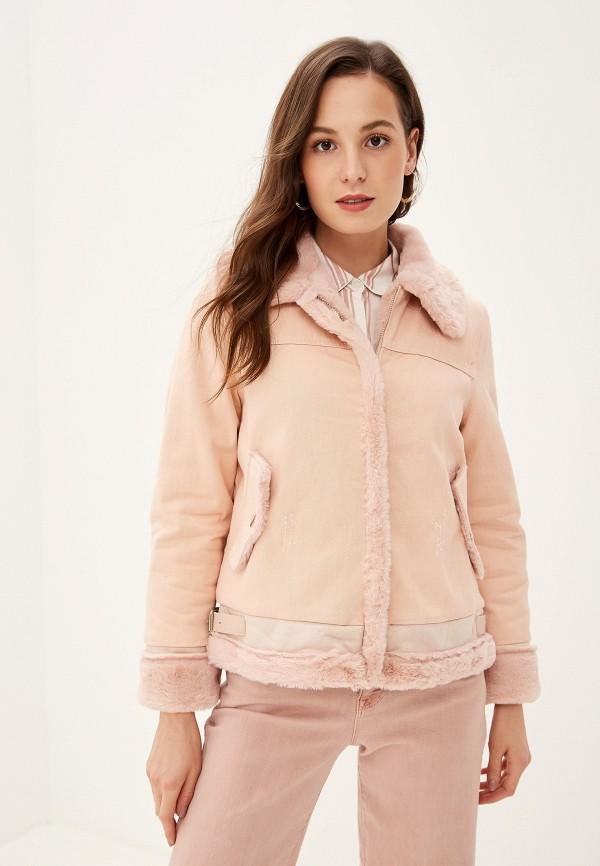 женская джинсовые куртка grand style, розовая