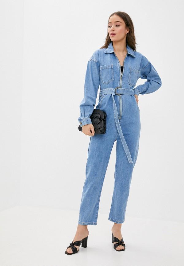 женский джинсовые комбинезон grand style, синий