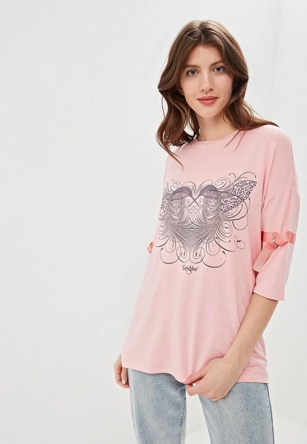 женская спортивные футболка grishko, розовая