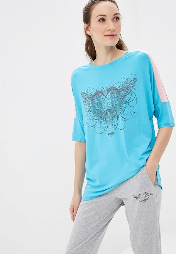 женский лонгслив grishko, голубой