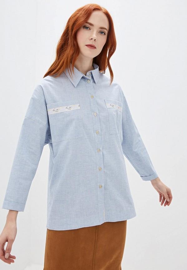 женская рубашка с длинным рукавом gregory, голубая