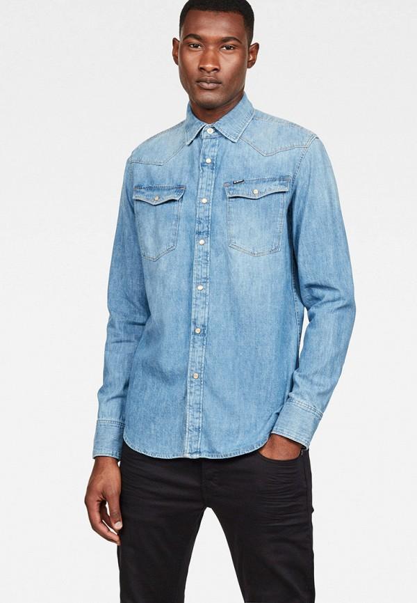 мужская джинсовые рубашка g-star raw, синяя