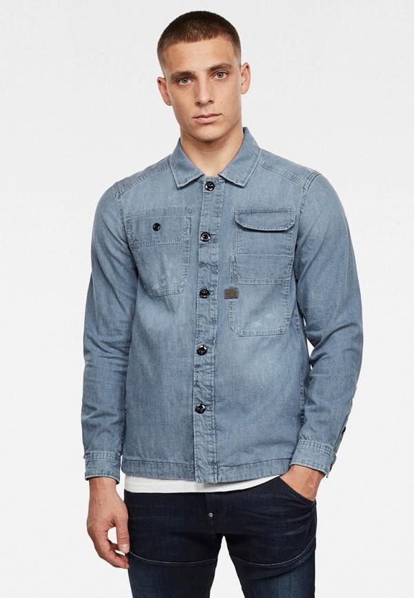 мужская джинсовые рубашка g-star raw, голубая