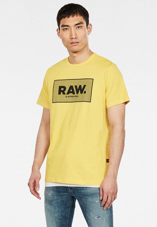 мужская футболка с коротким рукавом g-star raw, желтая