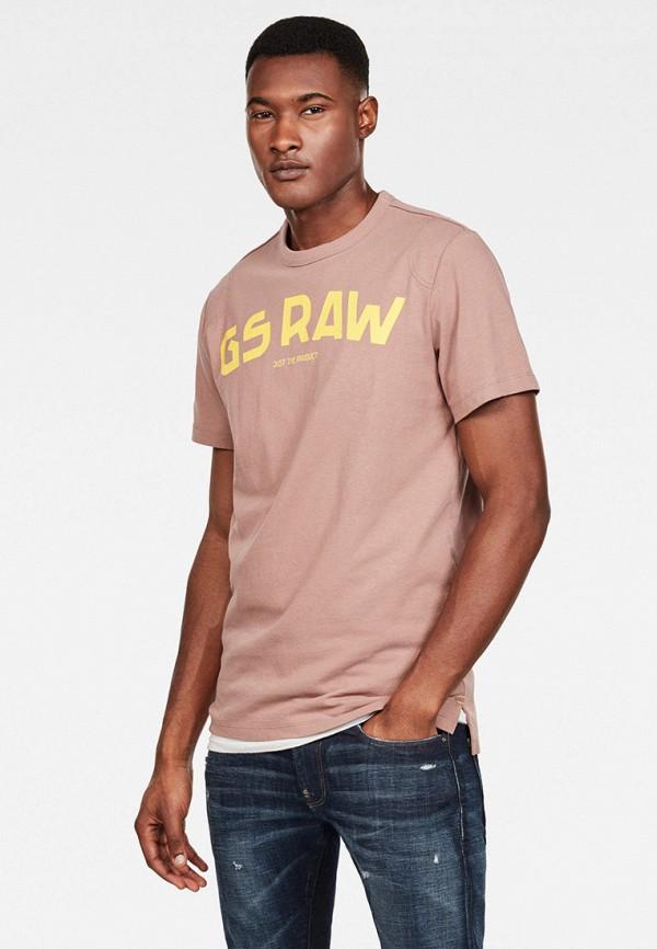 мужская футболка с коротким рукавом g-star raw, розовая