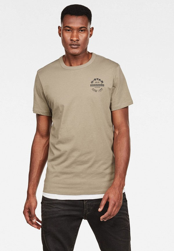мужская футболка с коротким рукавом g-star raw, бежевая