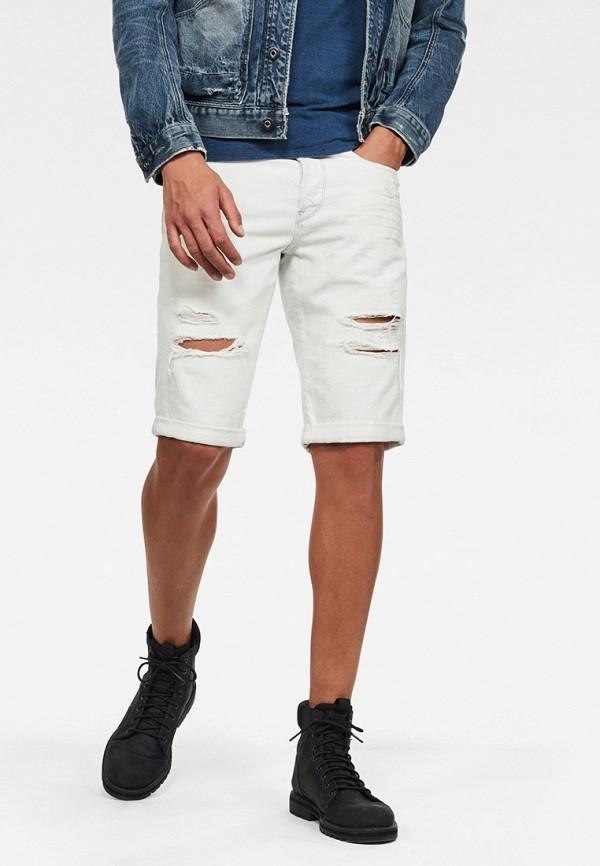 мужские джинсовые шорты g-star raw, белые