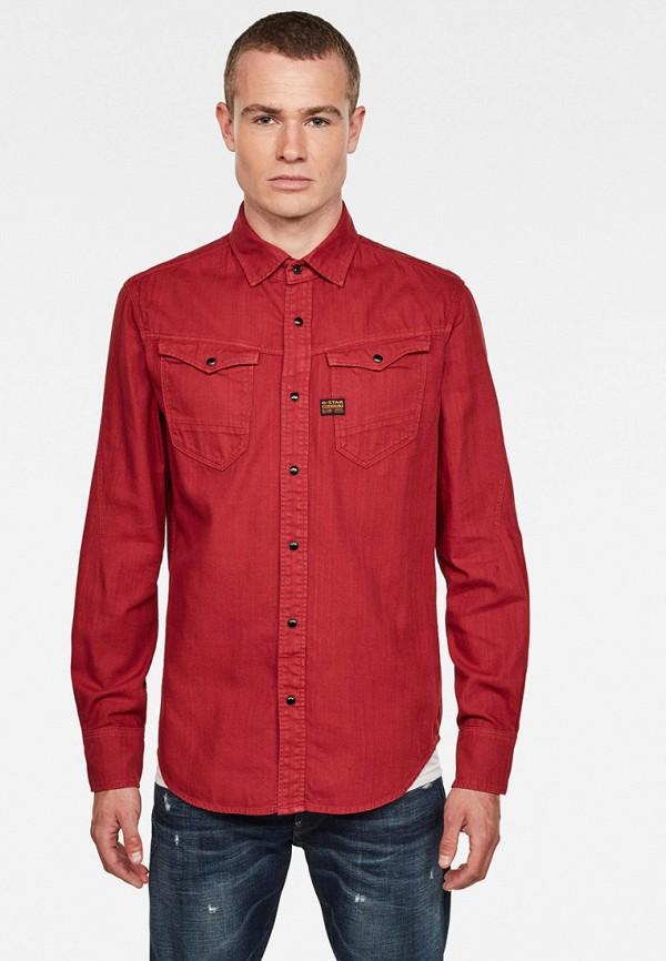 мужская джинсовые рубашка g-star raw, красная