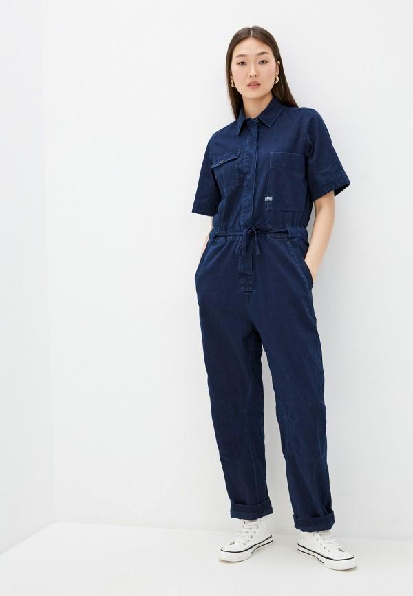 женский джинсовые комбинезон g-star raw, синий