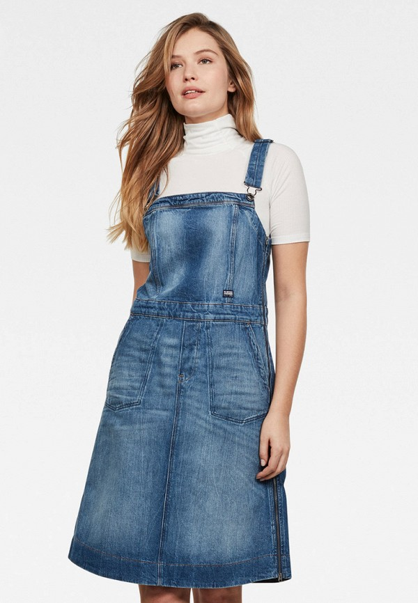 женское джинсовые платье g-star raw, синее