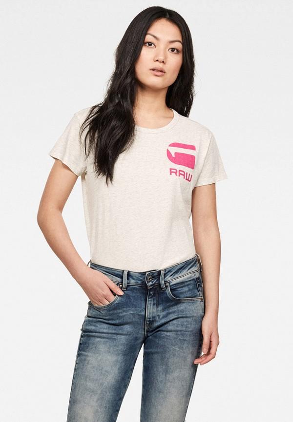 женская футболка g-star raw, бежевая