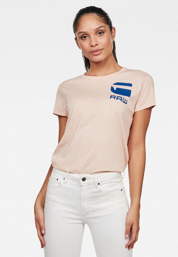 женская футболка g-star raw, розовая