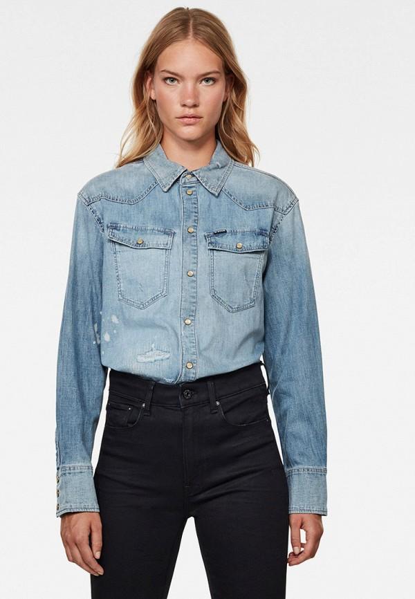 женская джинсовые рубашка g-star raw, голубая