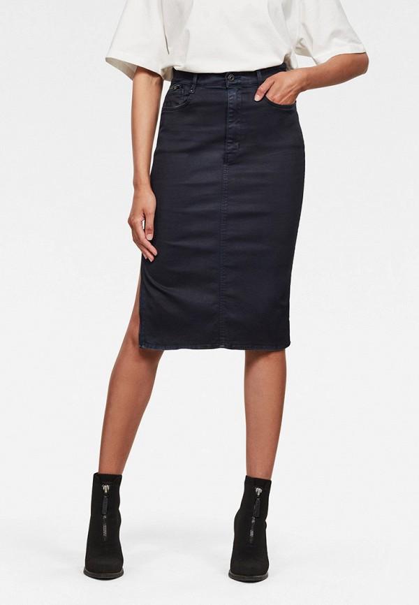 женская джинсовые юбка g-star raw, синяя