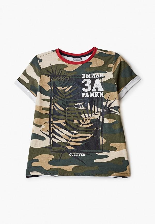 футболка с коротким рукавом gulliver для мальчика, хаки