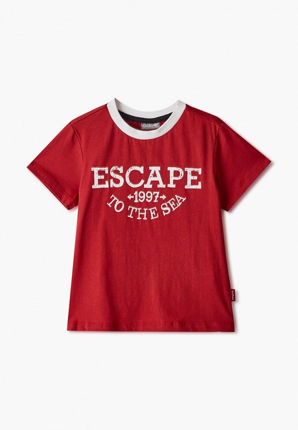 футболка с коротким рукавом gulliver для мальчика, бордовая