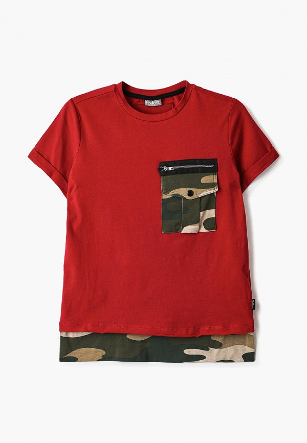 футболка с коротким рукавом gulliver для мальчика, красная
