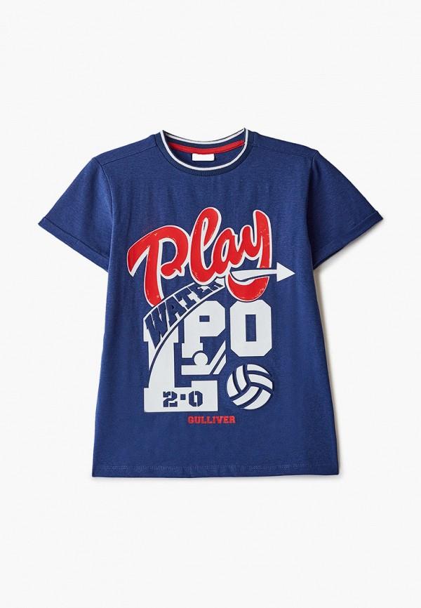 футболка с коротким рукавом gulliver для мальчика, синяя