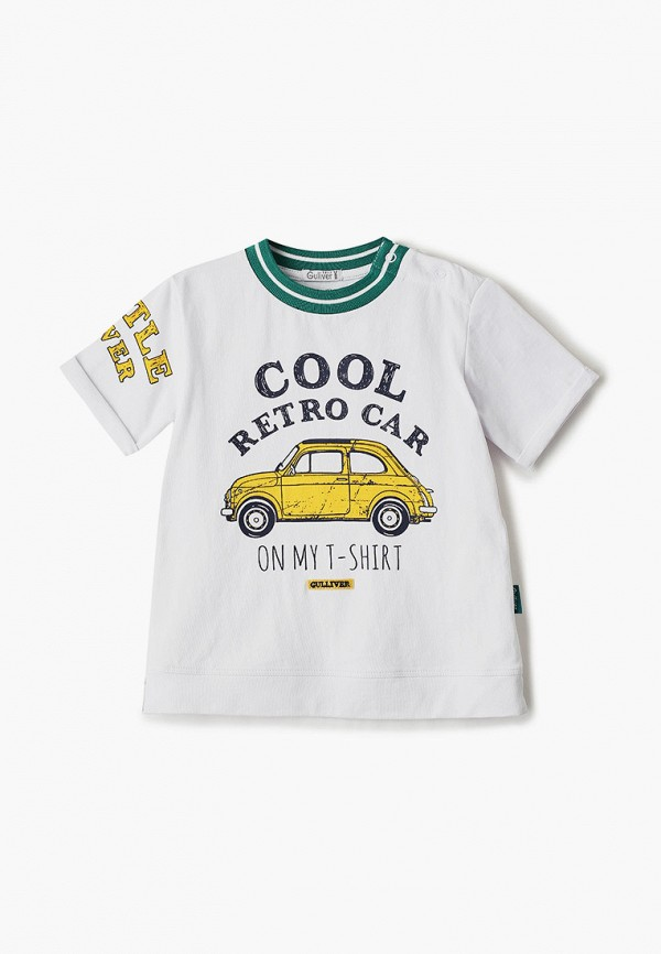 футболка с коротким рукавом gulliver для мальчика, белая
