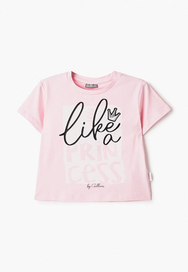 футболка с коротким рукавом gulliver для девочки, розовая