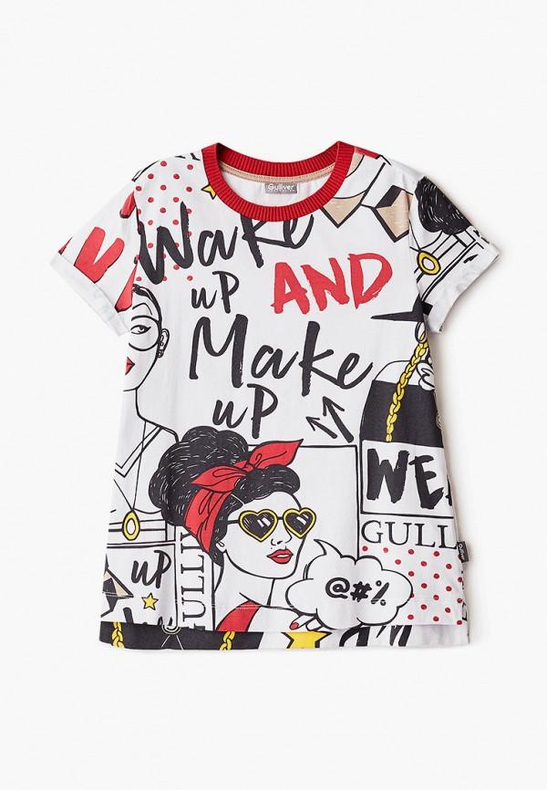 футболка с коротким рукавом gulliver для девочки, белая