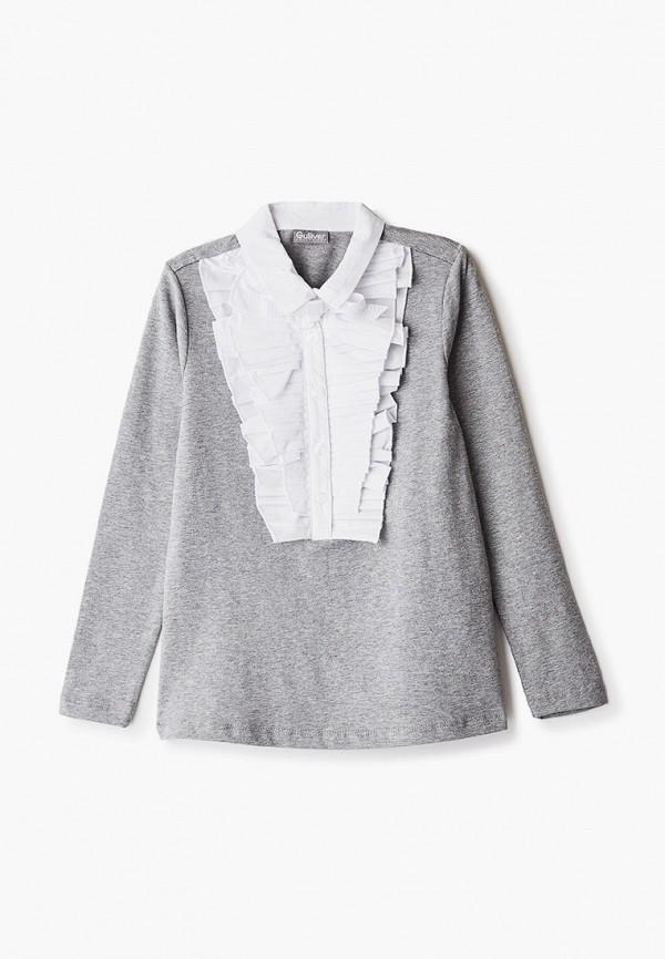 блузка gulliver для девочки, серая
