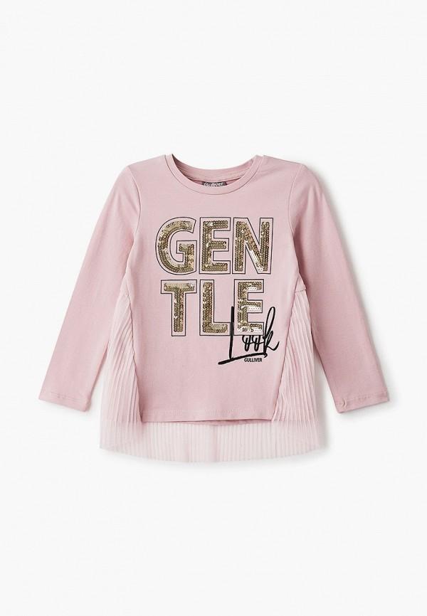 лонгслив gulliver для девочки, розовый