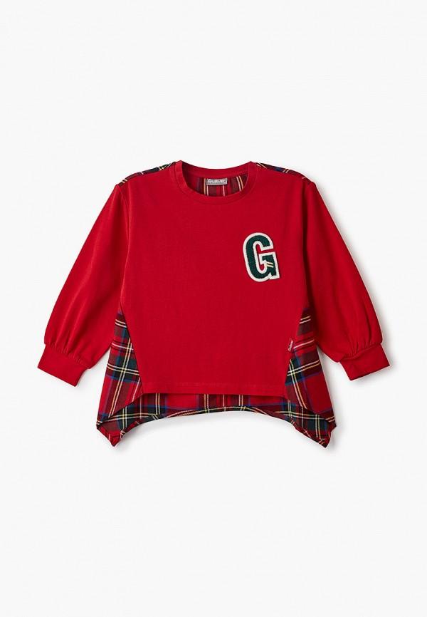 лонгслив gulliver для девочки, красный