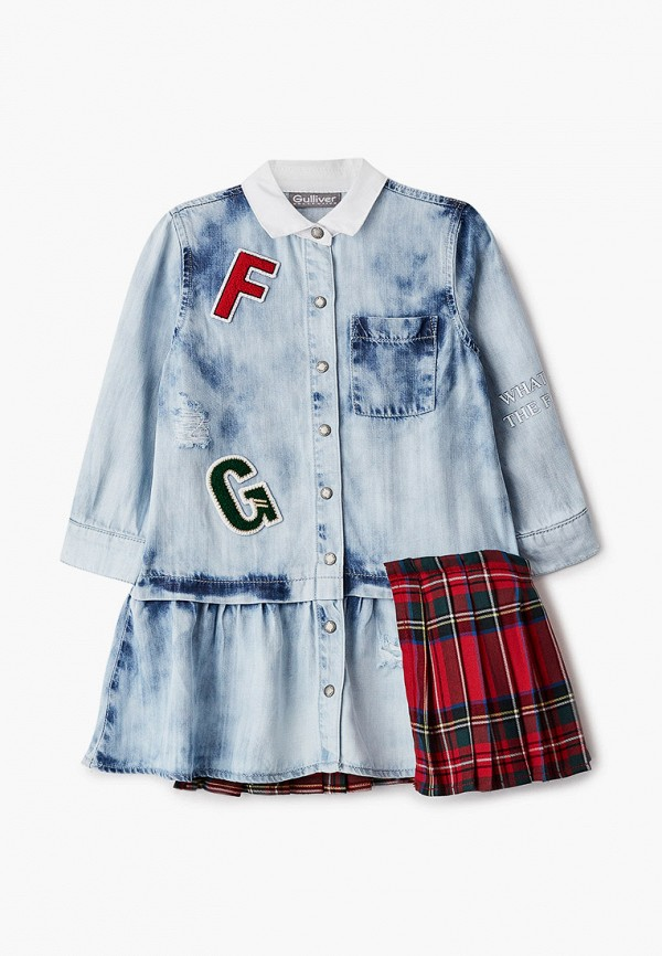 повседневные платье gulliver для девочки, голубое